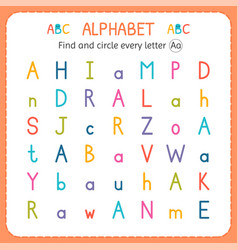 find and circle every letter a worksheet for vector image