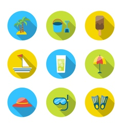 Flat modern set icons of traveling planning summer vector image