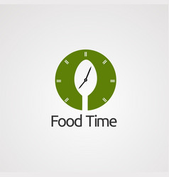 food time with circle clock and spoon logo icon vector image