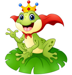 Frog prince cartoon on water lily leaf vector