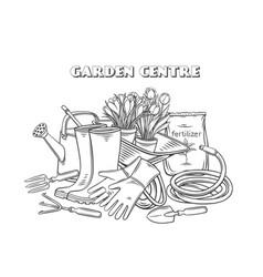 Gardening tools outline banner vector