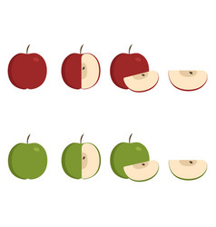green and red apple icons set in flat design vector image