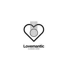 Guitar love logo outline monoline vector