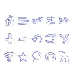 Hand drawn web icons and logo arrows internet vector