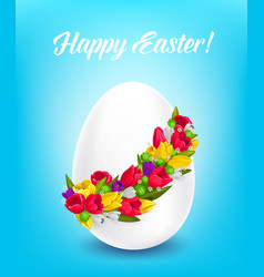 happy easter poster egg with flower wreath vector image