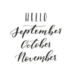 Hello september october vector