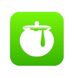 Honey pot icon digital green vector