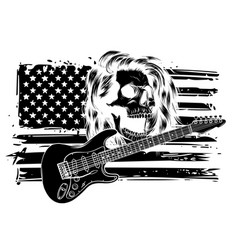 human skull and electric guitar symbol rock vector image