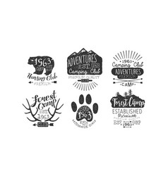 hunting club adventures premium retro labels set vector image