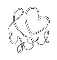 I love you Love curly calligraphy sign vector image
