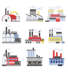 Industrial manufactory buildings set power and vector