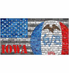 iowa flag on the grey usa flag background vector image
