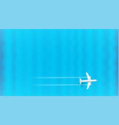 jetliner flight above blue sea on top speed vector image