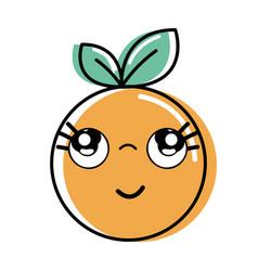 Kawaii nice thinking orange fruit vector
