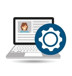 laptop social profile progress icon vector image