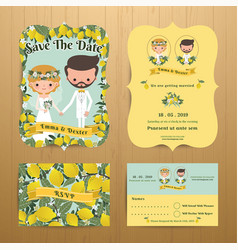 lemon 0rchard theme wedding couple bride amp vector image