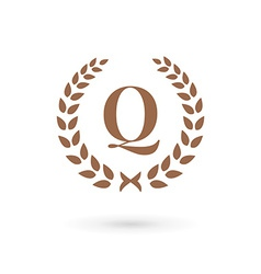 Letter Q laurel wreath logo icon design template vector image
