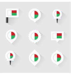 Madagascar flag and pins for infographic and map vector