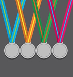 Many Silver Medals With Colorful Ribbon vector