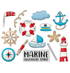 marine nautical travel icons set colorful hand vector image
