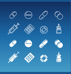 medication linear and silhouette icons vector image