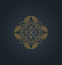 Monogram with new year date simple and graceful vector image