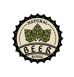 Natural royal beer icon or bottle cap design vector image