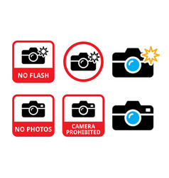 no photos no cameras no flash icons - do vector image
