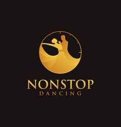 Nonstop dancing logo dancing in a clock vector