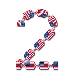 Number 2 made of USA flags in form of candies vector image