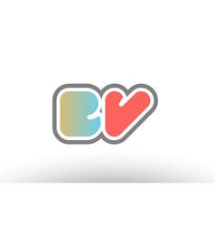 Orange pastel blue alphabet letter bv b v logo vector