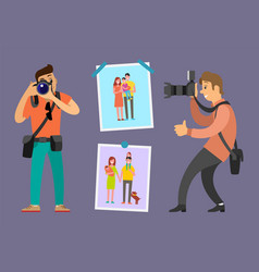 Photographers portfolio work samples on pictures vector