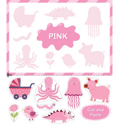 Pink color cut elements and match them with vector
