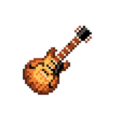 pixelated electric guitar - isolated vector image