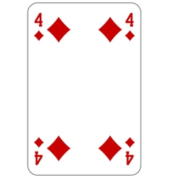 Poker playing card 4 diamond vector