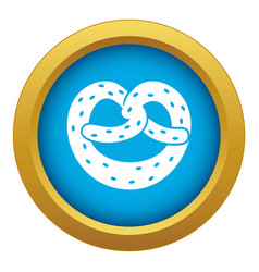 Pretzels icon blue isolated vector