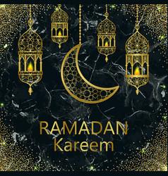 Ramadan kareem gold and black marble template vector