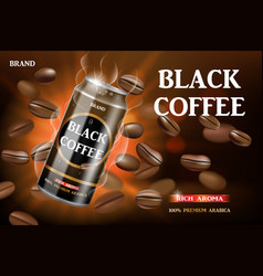 Realistic black canned coffee with beans swirling vector