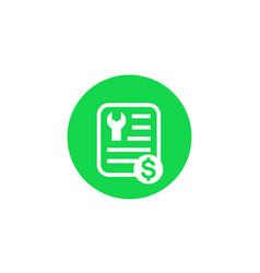 Repair bill or cost icon vector