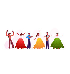 rio carnival musicians band and girls dancers vector image