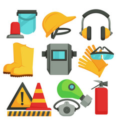 Safety items protective equipment building or vector