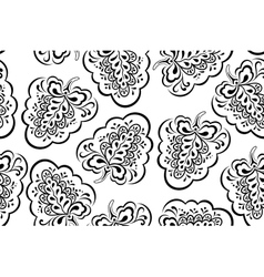 Seamless outline floral pattern vector