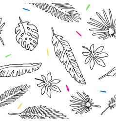 seamless pattern leaves palm tree vector image