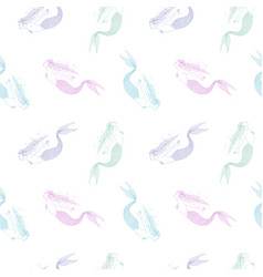 seamless pattern with colorful hand drawn mermaids vector image