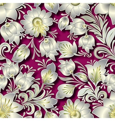 seamless silver floral ornament on pink background vector image