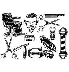 set of barbershop objects vector image