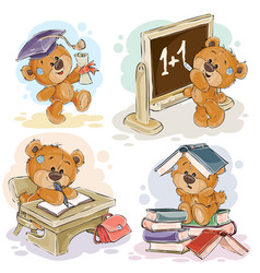 Set of numbers with a fun teddy bear vector
