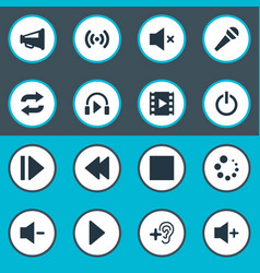 Set of simple audio icons vector