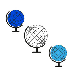 set sketch globe world icons vector image