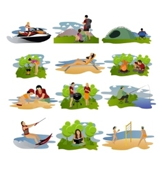 set summer recreation concept design vector image